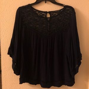 Navy blue blouse with lace